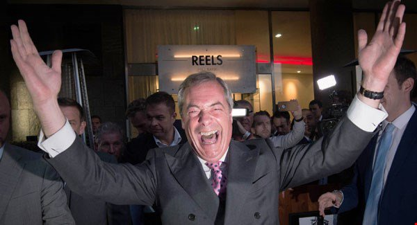 """Nigel Farage celebrates a victory for 'Brexit', stating that the 23 June would """"go down in our history as our independence day""""."""