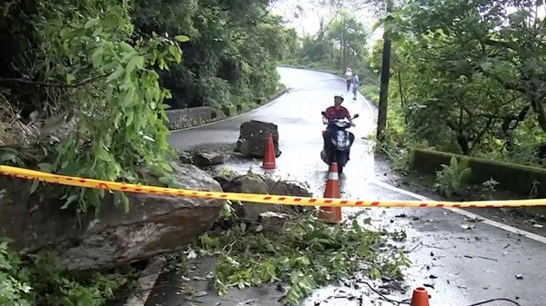 Pacific ocean typhoon on coast of Taiwan caused by earthquake.