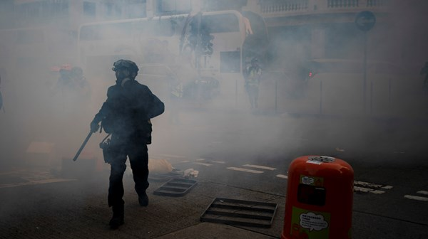 Hong Kong protests get broken up by tear gas and rubber bullets