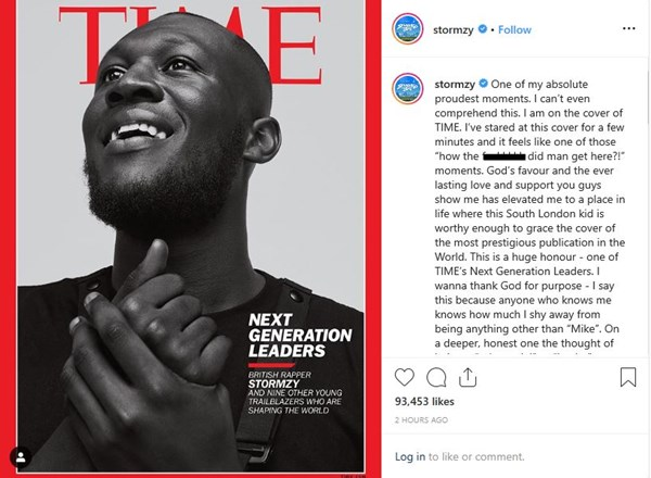 Stormzy on the cover of Time Magazine