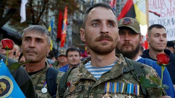 Far right activists of Ukraine protest on the streets over peace plan