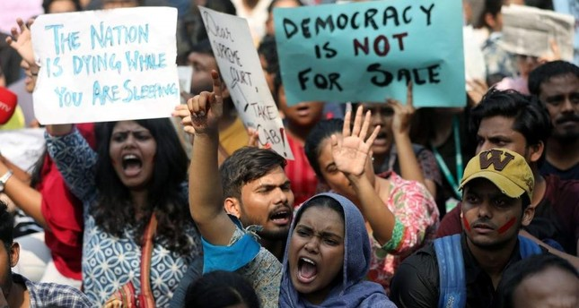 Indian students protests over democracy in country; New Delhi, India