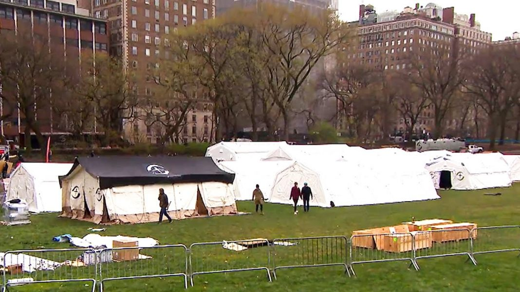 Central Park, NY, hospitals created for more space to conduct Covid-19 testing
