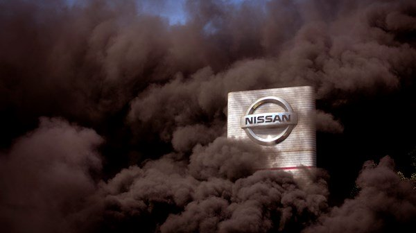 Nissan factory smothered with burnt tyre smoke in Barcelona