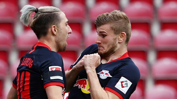 Timo Werner celebrates hat-trick in first game out of lockdown