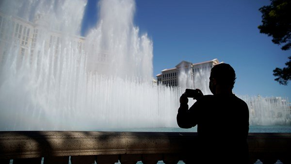 Sights to the bellagio hotel in Las Vegas. Lockdown eases and jobs come back