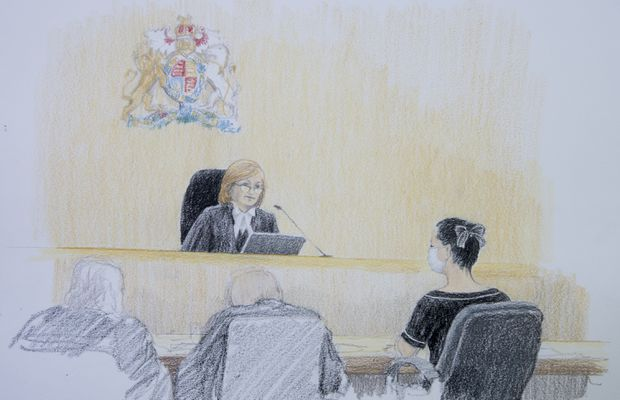 Meng Wanzhou in court illustration